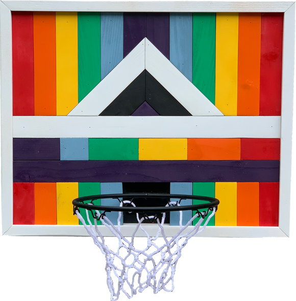 Rainbow Basketball Hoop Art