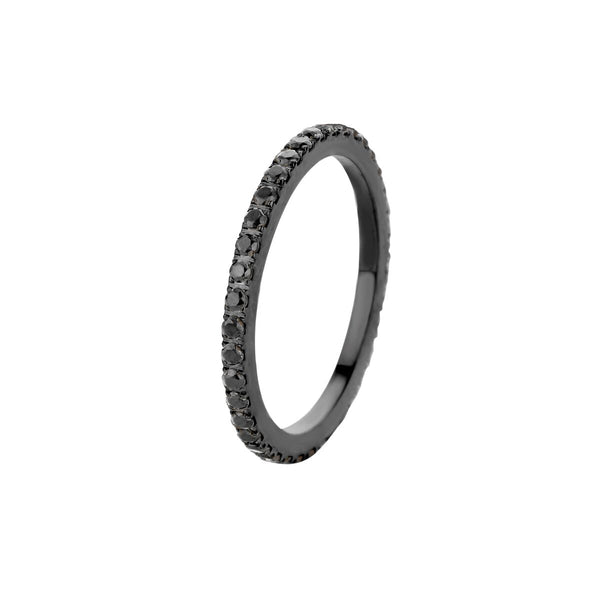 Sade CZ Side Ring | Black | Black