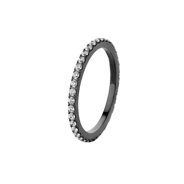 Sade CZ Side Ring | Black | Crystal
