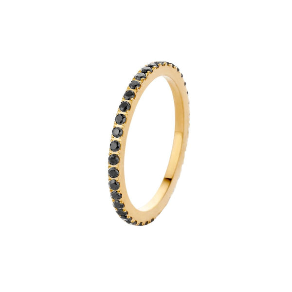 Sade CZ Side Ring | Gold | Black