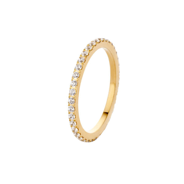 Sade CZ Side Ring | Gold | Crystal