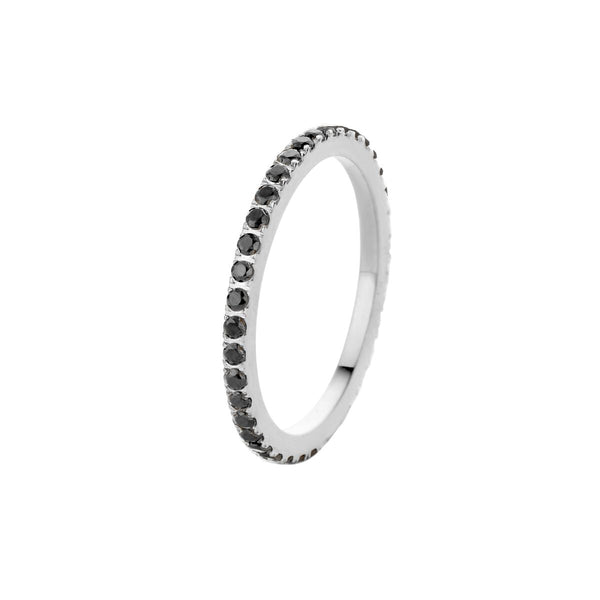 Sade CZ Side Ring | Silver | Black