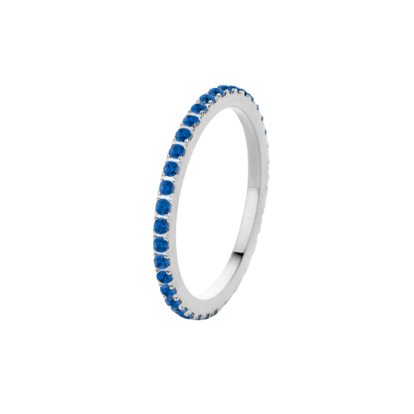 Zirconia Side Ring | Silver | Sapphire