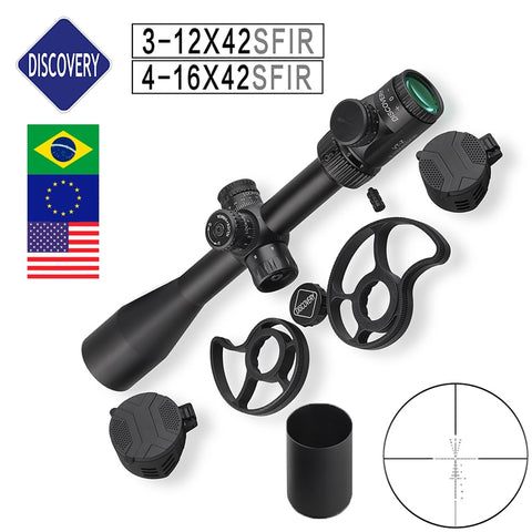 Illuminated Discovery Rifle Scope 3-12 4-16 6-24 Magnification Side Wheel 2 sizes Glass Etched