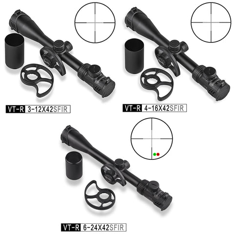 3-12 4-6 6-24 x42 Illuminated Side Parallax Wheels in 2 Sizes Wired Reticle .22 Rifle Scope PCP Hunting