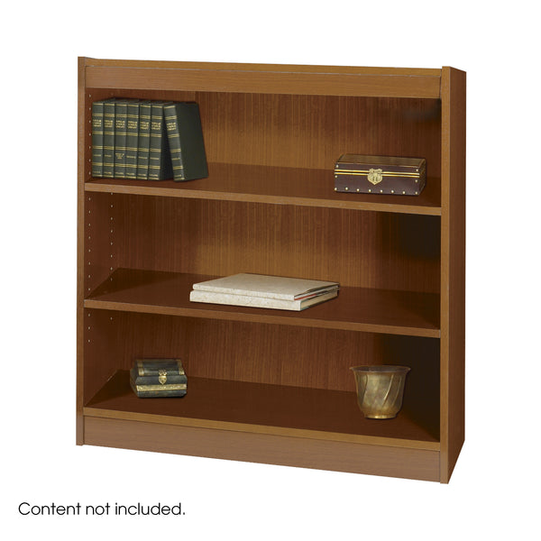 Square-Edge Veneer Bookcase, 3 Shelf, Medium Oak