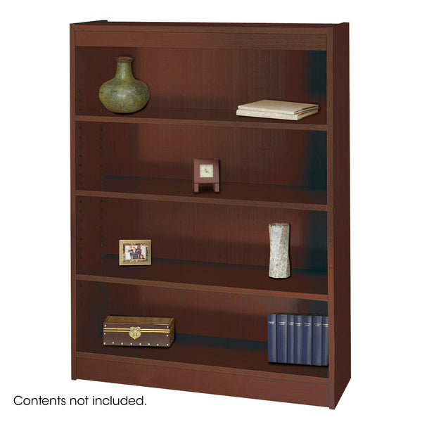 Square-Edge Veneer Bookcase, 4 Shelf, Mahogany