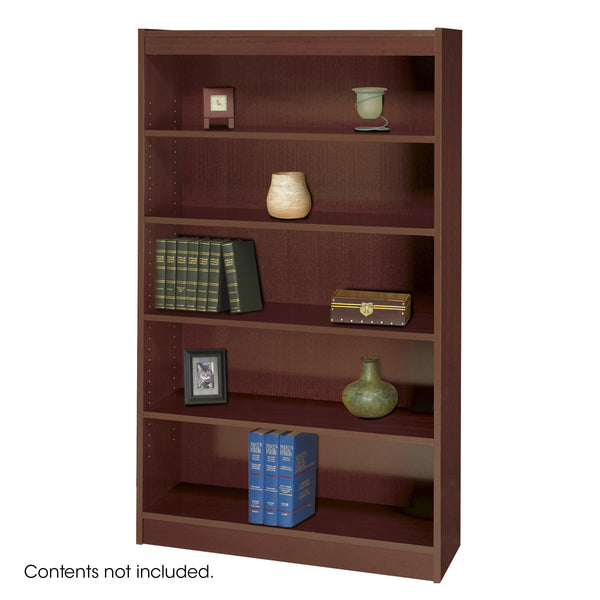 Square-Edge Veneer Bookcase, 5 Shelf, Mahogany