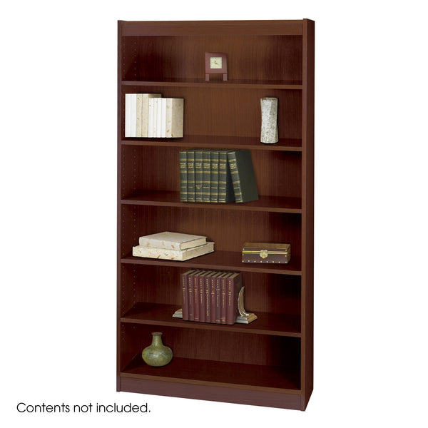 Square-Edge Veneer Bookcase, 6 Shelf, Mahogany