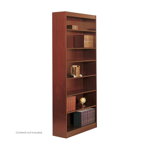 Square-Edge Veneer Bookcase, 7 Shelf, Cherry