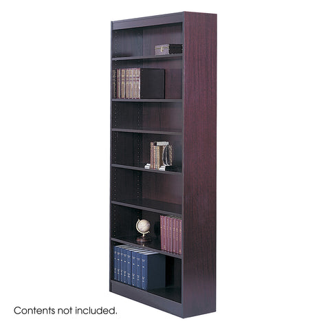 Square-Edge Veneer Bookcase, 7 Shelf, Mahogany