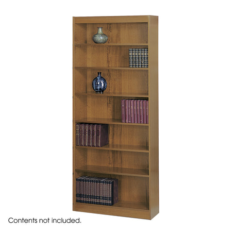 Square-Edge Veneer Bookcase, 7 Shelf, Medium Oak