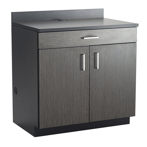 Hospitality Cabinet, 2 Door/1 Drawer Base Cabinet, Asian Night Door Panels, Black Side Panels & Top