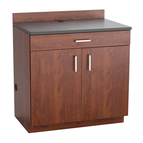 Hospitality Cabinet, 2 Door/1 Drawer Base Cabinet, Mahogany Door & Side Panels, Rustic Slate Top