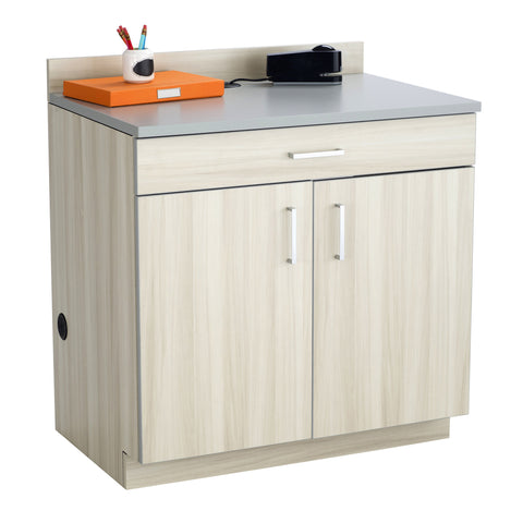 Hospitality Cabinet, 2 Door/1 Drawer Base Cabinet, Vanilla Stix Door & Side Panels, Gray Top