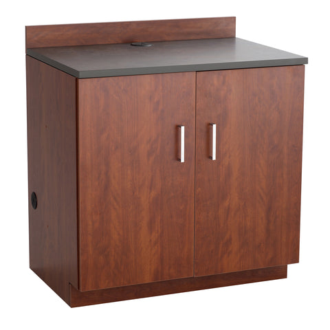 Hospitality Cabinet, 2 Door Base Cabinet, Mahogany Door & Side Panels, Rustic Slate Top