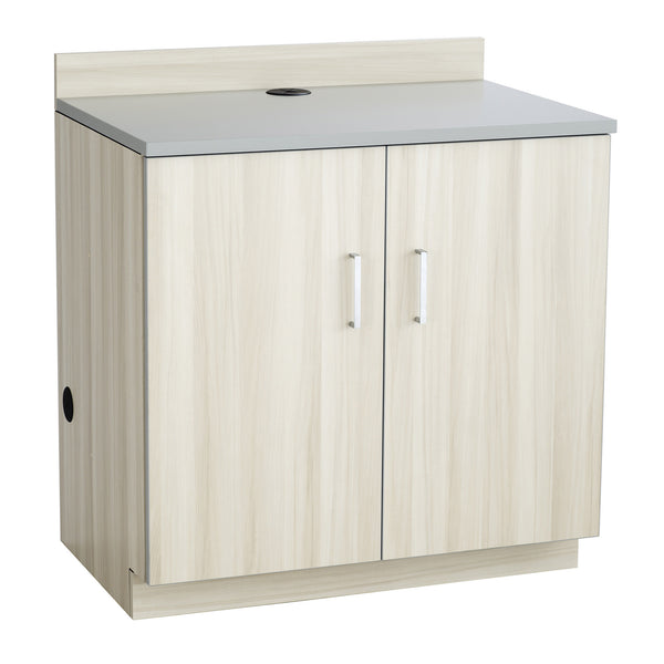 Hospitality Cabinet, 2 Door Base Cabinet, Vanilla Stix Door & Side Panels, Gray Top