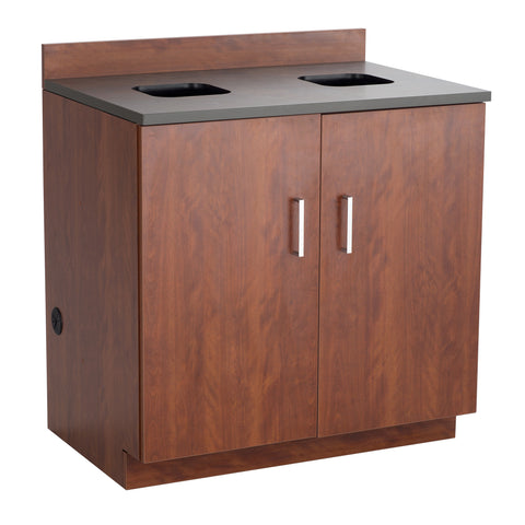 Hospitality Cabinet, Waste Management Base Cabinet, Mahogany Door & Side Panels, Rustic Slate Top