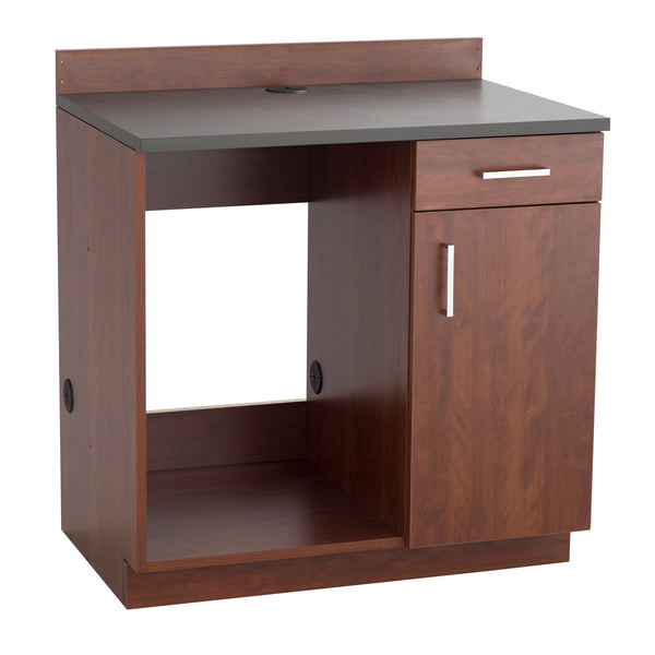 Hospitality Cabinet, Appliance Base Cabinet, Mahogany Door & Side Panels, Rustic Slate Top
