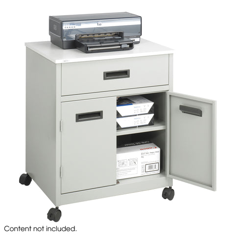 Machine Stand with Drawer, Enclosed, Steel, Gray