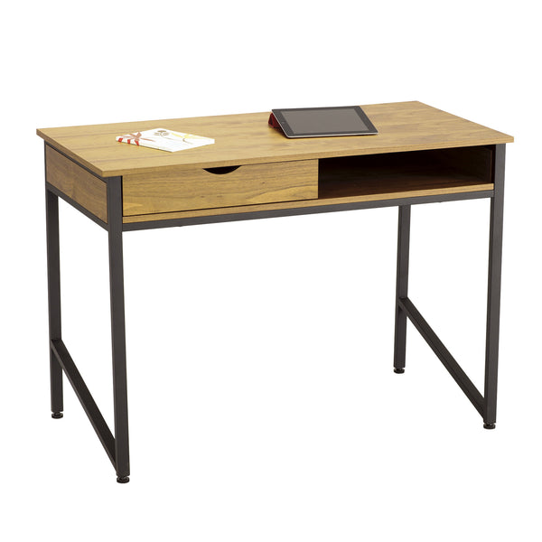 Office Desk, Single Drawer, Cherry Veneer Top, Black Frame