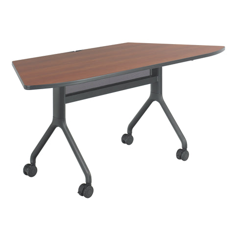 "Rumba™ Table, Trapezoid, 72 x 30"", Cherry Tabletop & Black Base"
