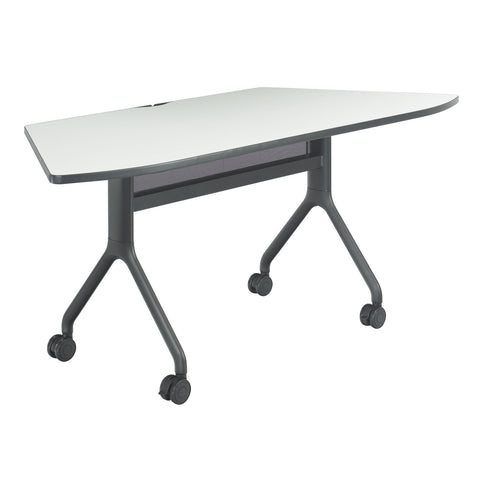 "Rumba™ Table, Trapezoid, 72 x 30"", Gray Tabletop & Black Base"