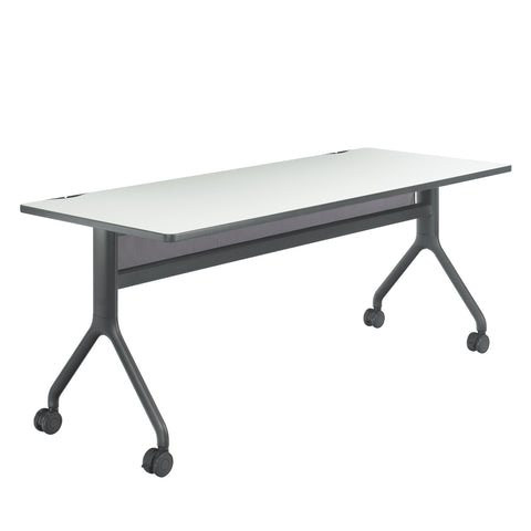 "Rumba™ Table, Rectangle, 72 x 30"", Gray Tabletop & Black Base"