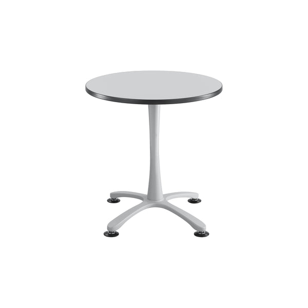 "Cha-Cha™ Tables, Sitting-Height, X Base, 30"" Round, Gray Tabletop & Metallic Gray Base"