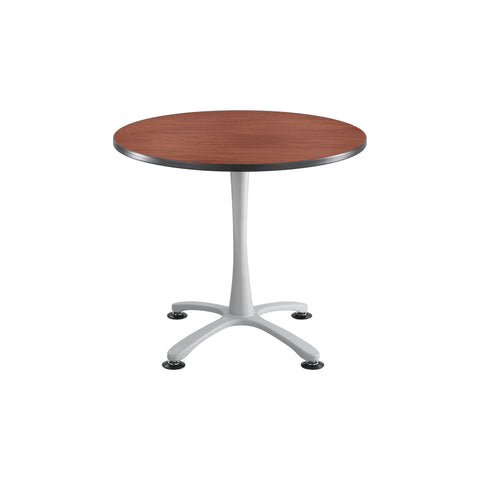 "Cha-Cha™ Tables, Sitting-Height, X Base, 36"" Round, Cherry Tabletop & Metallic Gray Base"