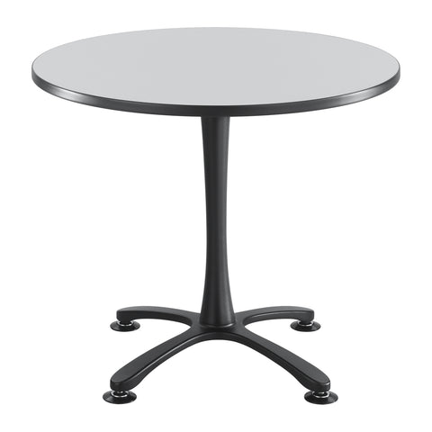 "Cha-Cha™ Tables, Sitting-Height, X Base, 36"" Round, Gray Tabletop & Black Base"