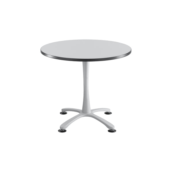 "Cha-Cha™ Tables, Sitting-Height, X Base, 36"" Round, Gray Tabletop & Metallic Gray Base"