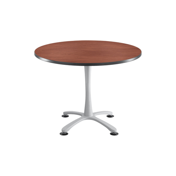 "Cha-Cha™ Tables, Sitting-Height, X Base, 42"" Round, Cherry Tabletop & Metallic Gray Base"