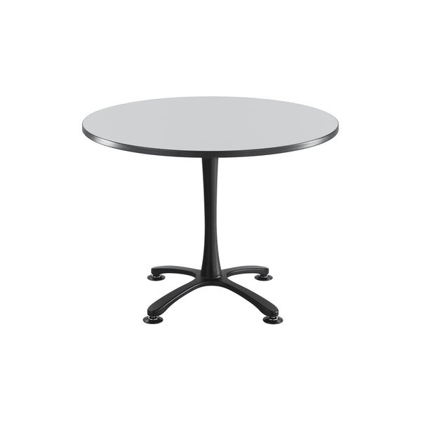 "Cha-Cha™ Tables, Sitting-Height, X Base, 42"" Round, Gray Tabletop & Black Base"