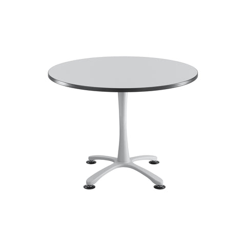 "Cha-Cha™ Tables, Sitting-Height, X Base, 42"" Round, Gray Tabletop & Metallic Gray Base"