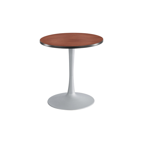 "Cha-Cha™ Tables, Sitting-Height, Trumpet Base, 30"" Round, Cherry Tabletop & Metallic Gray Base"