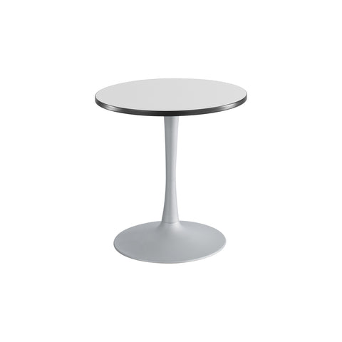 "Cha-Cha™ Tables, Sitting-Height, Trumpet Base, 30"" Round, Gray Tabletop & Metallic Gray Base"