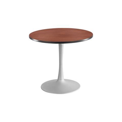 "Cha-Cha™ Tables, Sitting-Height, Trumpet Base, 36"" Round, Cherry Tabletop & Metallic Gray Base"