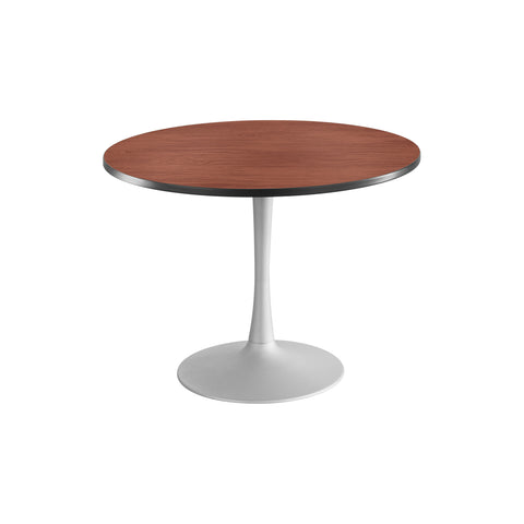 "Cha-Cha™ Tables, Sitting-Height, Trumpet Base, 42"" Round, Cherry Tabletop & Metallic Gray Base"