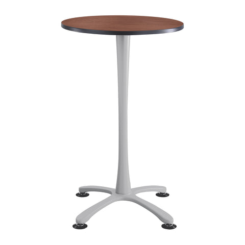 "Cha-Cha™ Tables, Bistro-Height, X Base, 30"" Round, Cherry Tabletop & Metallic Gray Base"