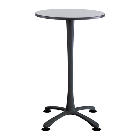 "Cha-Cha™ Tables, Bistro-Height, X Base, 30"" Round, Gray Tabletop & Black Base"