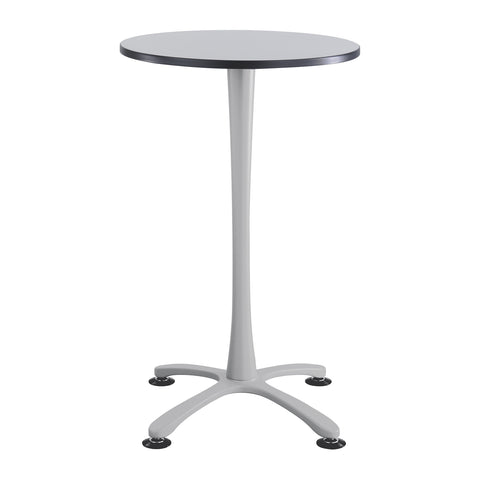 "Cha-Cha™ Tables, Bistro-Height, X Base, 30"" Round, Gray Tabletop & Metallic Gray Base"