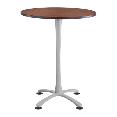 "Cha-Cha™ Tables, Bistro-height, X Base, 36"" Round, Cherry Tabletop & Metallic Gray Base"