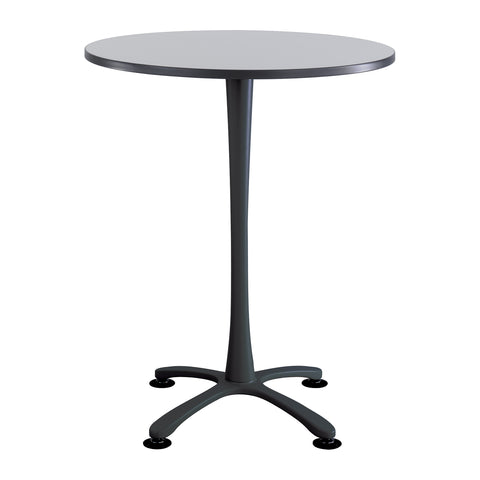 "Cha-Cha™ Tables, Bistro-height, X Base, 36"" Round, Gray Tabletop & Black Base"