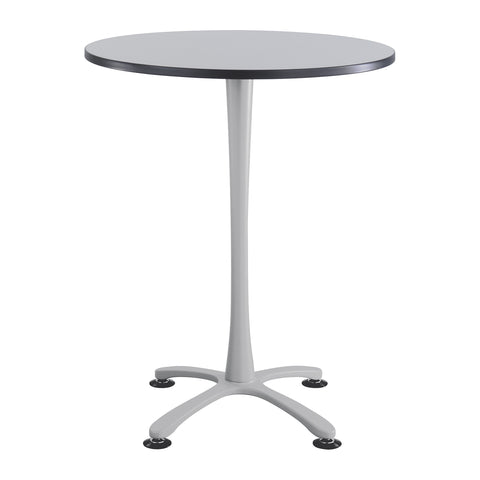 "Cha-Cha™ Tables, Bistro-height, X Base, 36"" Round, Gray Tabletop & Metallic Gray Base"