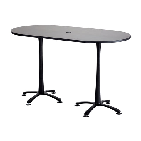 "Cha-Cha™ Teaming Tables, Bistro-Height, Racetrack, 72 x 36"", Asian Night Tabletop & Black Base"