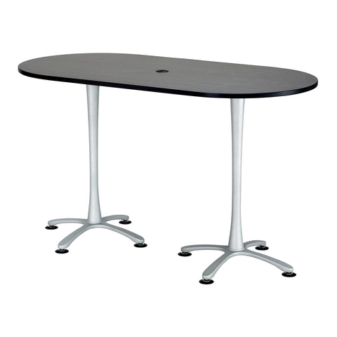 "Cha-Cha™ Teaming Tables, Bistro-Height, Racetrack, 72 x 36"", Asian Night Tabletop & Metallic Gray Base"