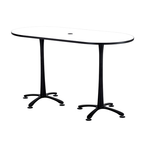 "Cha-Cha™ Teaming Tables, Bistro-Height, Racetrack, 72 x 36"", Designer White Tabletop & Black Base"