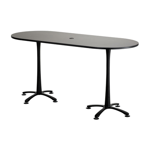 "Cha-Cha™ Teaming Tables, Bistro-Height, Racetrack, 84 x 36"", Asian Night Tabletop & Black Base"