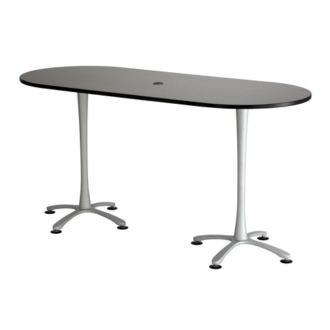"Cha-Cha™ Teaming Tables, Bistro-Height, Racetrack, 84 x 36"", Asian Night Tabletop & Metallic Gray Base"